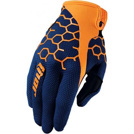 Motokrosové rukavice Thor DRAFT COMB NAVY/ORANGE GLOVES 2017
