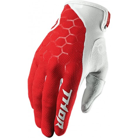 Motokrosové rukavice Thor DRAFT INDI RED/WHITE GLOVES 2017