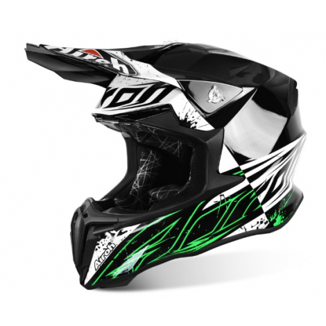 Motokrosová helma AIROH TWIST SPOT bílá/černá/zelená 2017