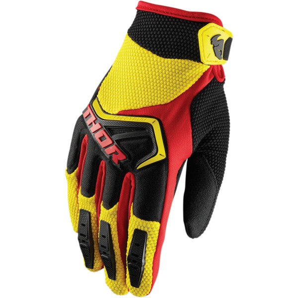 Motokrosové rukavice Thor SPECTRUM YELLOW RED BLACK GLOVES 2018 af085542e8