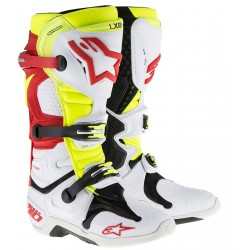 Motokrosové boty ALPINESTARS TECH 10 boty - bílá/červená/flo žlutá