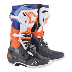 Motokrosové boty ALPINESTARS TECH 10 MX19 boty - šedá/oranžová fluo/modrá/bílá 2019